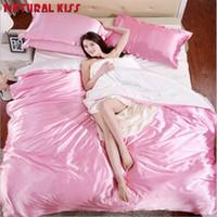 Wholesale hot pink beds online - Hot sale Classic imitate silk Feel satin Plain Solid Sky Blue Red wine Bedding set Duvet Cover set Bedclothes Bed sheet set