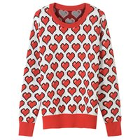 Wholesale computer hearts for sale - Red Black Long Sleeves Women s Sweaters Red hearts Jacquard Pullover Women high quality