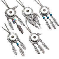Wholesale dreamcatcher jewelry - Interchangeable 245 Dreamcatcher Necklace Pendant Necklace Fit 12mm 18mm Buttons Women Charm jewelry With Iron chain Gift