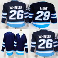 jets jerseys baratos al por mayor-Venta caliente barato 2018 nueva marca para mujer niños Winnipeg Jets 26 Blake Wheeler 29 Patrik Laine en blanco marino logotipos cosidos hockey sobre hielo Jerseys