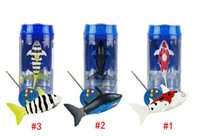 Wholesale Remote Control Water Toys - DHL Free Mini RC Shark UnderWater Coke Can RC Shark Fish 3CH Radio Remote Control Fish 3-Colors 3310B RC Toy for Kids Water Fun Toy
