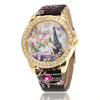 relojes mujer paris al por mayor-FUNIQUE Reloj Moda Diamante París Torre Eiffel Correa Digital Mujer Reloj Reloj de Pulsera Moda Mujer 2018