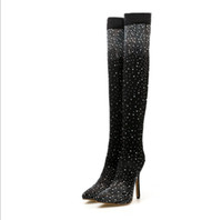 Wholesale women diamond open toe heels for sale - Group buy Hot style Sexy translucent fashion over the knee boots women Long trunk cool boots tip Shining diamond high heeled boots