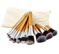 Wholesale Bamboo Drawings - Professional Bamboo Make Up Brush Sets 11 Pcs Cosmetics Makeup Maquiagem Concealer Cosmetic Brushes Kits with Draw String bag