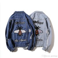 Wholesale Top Brand Denim Jackets Men - Lover Fashion Bees Embroidery Denim Jeans Jackets Loose Mens Brand Hip Hop Jackets Coat Harajuku Holes Top Denim Veste Homme