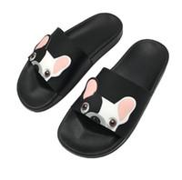 zapatos lindos de moda al por mayor-Moda animal Bulldog zapatillas sandalias de verano Flip Flops Beach mujeres Cartoon Shoes fuera lindo divertido baño Floor Home