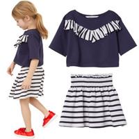 5b022a748 Fashion Baby Girls Tee Shirt Stripe Skirt Children Clothes Sets Navy Sailor  Girl Jumper High Wasit Kilt Kids Outfits 2-7Year Dress