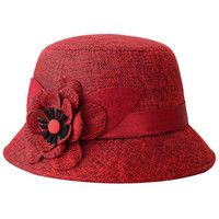 Wholesale red hat elegant for sale - Bohemia Cap Women s Elegant Brim Summer Beach Flower Bowler Sun Hat Billycock red black gray coffee red wine khaki
