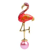 Wholesale scarves pin for resale online - New Design Red Enamel Flamingo Brooch Animal Simulated Pearl Bird Scarf Pins Buckle Gift For Women