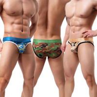 underwear men pouch bulge venda por atacado-Moda Masculina Camo Underwear Lingerie Sexy Bulge Bolsa Briefs Camuflagem Cuecas Calcinhas Bottoms Jockstrap Low Rise