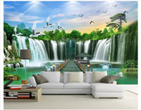Wholesale modern feng shui resale online - Custom d wall murals wallpaper d photo wallpaper murals Waterfall Feng Shui landscape water and wealth landscape painting background wall