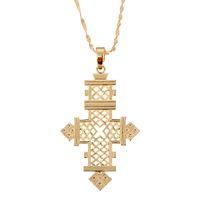 colgantes de religión al por mayor-Etiopía Cruz Colgante Collar Oro Color África Cruz Joyas Eritrea Religión