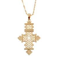 religionsanhänger großhandel-Äthiopisches Kreuz Anhänger Halskette Gold Farbe Afrika Kreuz Schmuck Eritrea Religion