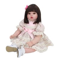 Wholesale 24 inch figure - 20 inches Silicone Reborn Baby Doll Children's Playmate Cute 50cm Toys For Kids Birthday Gift Play House Camera Pavilion Toy With Skirt