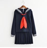 traje de marinero femenino al por mayor-JK uniforme Japanses Student Sailor Uniform para Autumn Kawaii traje para mujer falda + Top por juego
