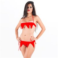glocke bikini groihandel-Sexy Red Jingle Bell Bikini Dessous für Frauen Weihnachten Thema Kostüm Halter Weihnachtsmann Cosplay Uniform Erotic Valentine Club Wear