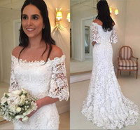 Wholesale lace wedding dress mermaid china for sale - Group buy Off the Shoulder Lace Wedding Dresses Made in China Mermaid Half Sleeve White Simple Custom Made Wedding Gowns Spring Summer