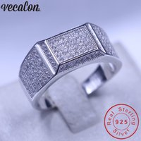 Wholesale diamonique engagement rings wedding sets for sale - Group buy Vecalon Jewelry wedding Band ring for Men Pave set Diamonique cz Sterling Silver male Engagement ring father gift