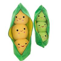 sevimli bitki hediye toptan satış-2018 Yeni 25 CM Sevimli Bebek Peluş Oyuncak Bezelye Doldurulmuş Hayvanlar Bitki Bebek Kawaii Çocuk Boys Kız hediye Için Yüksek Kalite Bezelye-şekilli Yastık C5571