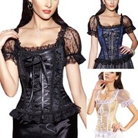Wholesale slimming sleeves shaper - NWT Sexy women Gothic Style Lace Intimates Bustiers & Corset Slim Body Plus Size A-line With Lace Sleeves Shaper Waist Training Overbust