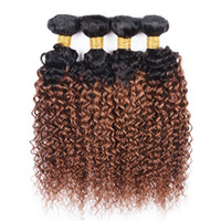 Wholesale peruvian curly human hair two tone resale online - 4Pcs Human Hair Ombre Weave Bundles Kinky Curly Brazilian Virgin Hair T B Two Tone Color Ombre Medium Auburn Hair Extension