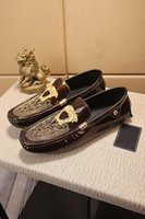 Wholesale mens leather driving slippers resale online - 2018 Fall High Quality Mens Multicolor Genuine Leather Luxury Buckle Loafers Medusa Driving Slippers Driver Shoes Plus
