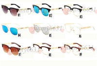 Wholesale mens fashion eyeglasses frames for sale - Group buy summer woman Metal Eyeglasses Cycling sunglasses ladies mens riding sunglasse Driving Glasses wind sunglasses clear hot sale A colors