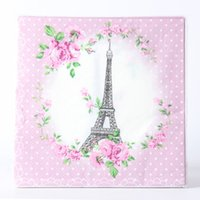 Wholesale party supplies eiffel tower decorations - 20pcs lot Eiffel Tower Theme Cartoon Paper Napkins Kids Baby Shower Happy Birthday For Boy Girl Gift Party Decoration Supplies