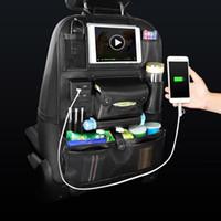 arka koltuk sırt çantaları toptan satış-Oto Araba Saklama Çantası Koltuk Çok Cep Seyahat Depolama Askı Araba USB Şarj Koltuk Örtüsü Organizatör Tutucu Arka Koltukta