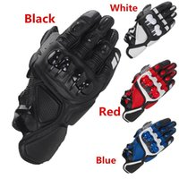 Wholesale red leather gloves men - Leather Racing Glove S1 Motorcycle Gloves Driving Bicycle Cycling Motorbike Sports Moto Racing Gloves for Yamaha KAWASAKI Bike