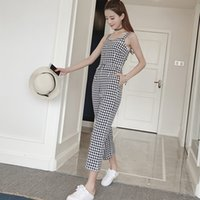 7d7b7b60ac7 New Summer Fashion Jumpsuits Overalls for Women Sleeveless Strap Plaid Was  Thin Korean Style Jumpsuits Rompers Womens Jumpsuit