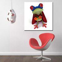 cool painted imágenes al por mayor-Grande Cool Funny Frog Animal Pictures Como regalo Decoración casera moderna Pintura de pared Artes pintadas a mano de dibujos animados pinturas al óleo sobre lienzo