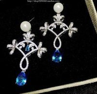 Chaming Blue Diamond Crystal Flower 925 earings da senhora (5.5cm * 3.3cm) fggf