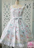 vestidos de jardin victoriano al por mayor-Sweet Lolita Cute Strawberry Sheep Garden Dresses JSK Medieval Renaissance Cotton Dress vestido victoriano estilo de verano