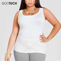 blousons blancs femmes achat en gros de-Plus La Taille 4XL 5XL 6XL Coton Femmes Débardeurs Femmes Grande Taille U-Cou Sans Manches Undershirt Dames Sexy Blanc Singlet G-049A