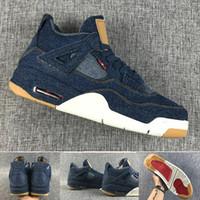 Wholesale Jeans Laces - (with Original box)2018 Retro 4 denim NRG Blue Jeans Basketball Shoes retro 4s denim LS Jeans Sports Shoes sneaker shoes 7-13