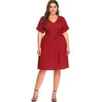 cotton summer dress xl Australia - New Women Short Sleeve Summer Dress Plus Size Pure Fashion V-neck Sexy Party Evening Dress XL-5XL