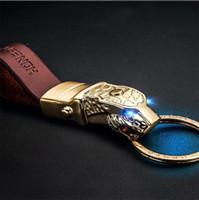Wholesale leather key chain car logo - LED Metal Black Leather Keychain Leopard Charm Key chain FASHION Car Brand Logo Key Holder Ring Accessories Gift Jewelry LP88