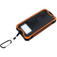 Wholesale Lithium Battery Bank - 10000mAh Portable Solar Dual USB Charger Anti-slip Anti-drop Camping Lamp SOS Function Lithium Polymer Battery Power Bank for Mobile Phone