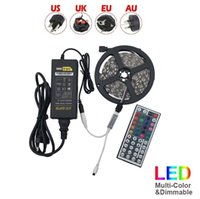 Wholesale Power Supply Pc - Led Strip Light RGB 5M 5050 SMD 300Led Non-Waterproof + 44Key Controller + 5A Power Supply With EU AU US UK Plug Christmas Gifts