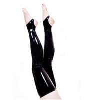 reiner oberschenkelstiefel großhandel-neue exotische Frauen weiblich schwarz rot weiß handgemacht Gothic Latex reine Farbe schlank Cekc Ferse Lange Strümpfe Oberschenkel Stiefel Socken