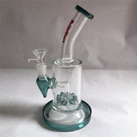 Wholesale wate pipes resale online - Hot bubbler portable drilling rig glass bong glass smoking pipe wate pipe bongs with perc mm male joint GB