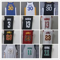 Wholesale men s basketball 13 - 23 LeBron James Kyrie Irving Stephen Curry James Harden Chris Paul Men s Basketball Jerseys S XXL