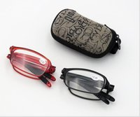 Wholesale foldable readers for sale - Group buy New TR90 Folding Reading Glasses Women Men Mini Clip Holder Zipper Case Foldable Readers Gifts With Case Box