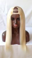 ingrosso parrucca bionda remy capelli umani indiani-Parrucche dei capelli umani della parte U Bionda # 613 Capelli vergini indiani diritti U Parrucche del merletto delle parti per le donne bianche