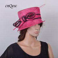 Wholesale ostrich hat feathers for sale - Group buy NEW small brim Fuchsia black Elegant Sinamay hat church dress Hat w ostrich feather for wedding Kentucky derby races party Ascot