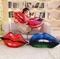 Wholesale sexy red pillows online - New personality red lipstick digital printing pillow sexy big lips pillows plush cushion big Decorative Pillow I430