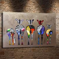 ingrosso tela di stampa zebra-ASTRATTA ZEBRA COLORATA, 1 Pezzi Stampe su tela Pittura a olio di arte della parete Home Decor (Senza cornice / Incorniciato)