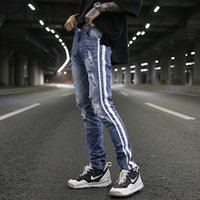 Wholesale Long Boot Men - moto biker men's Hole classics Best version zippers skinny slim fit mens holes style cotton Denim ripped jeans Striped jeans