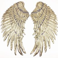 Wholesale sequin bag clothing - Angel Wing Feather Sequin Embroidered Fabric Large Patch Applique Stick Clothes Bag Decorate Accessories DIY Gold Silver Iron